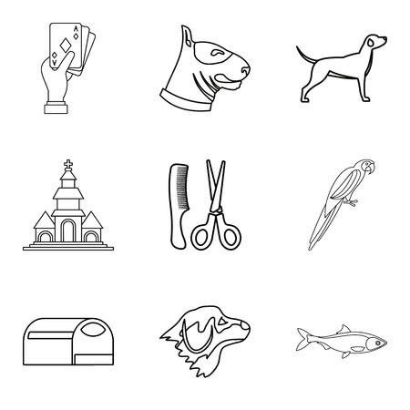 Dog menagerie icons set. Outline set of 9 dog menagerie icons for web isolated on white background Imagens