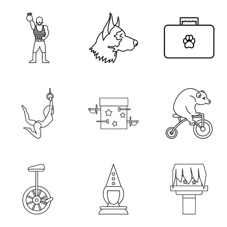 Funny zoo icons set. Outline set of 9 funny zoo icons for web isolated on white background Imagens