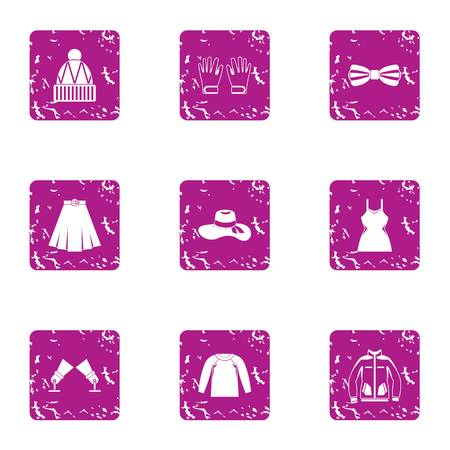 Women outfit icons set. Grunge set of 9 women outfit icons for web isolated on white background