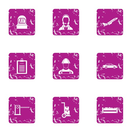 Working masses icons set. Grunge set of 9 working masses icons for web isolated on white background Stock Photo