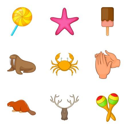Domesticate fauna icons set. Cartoon set of 9 domesticate fauna icons for web isolated on white background