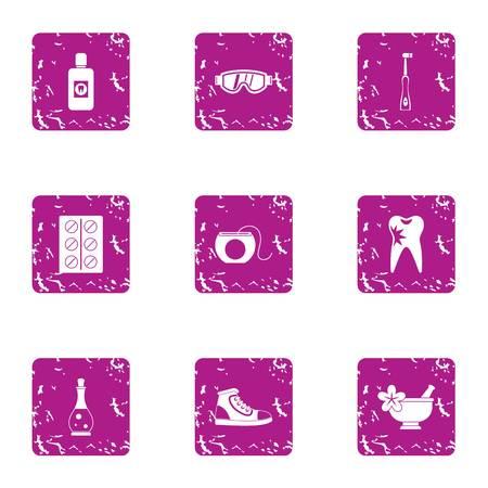 Spa icons set. Grunge set of 9 spa icons for web isolated on white background Stock Photo