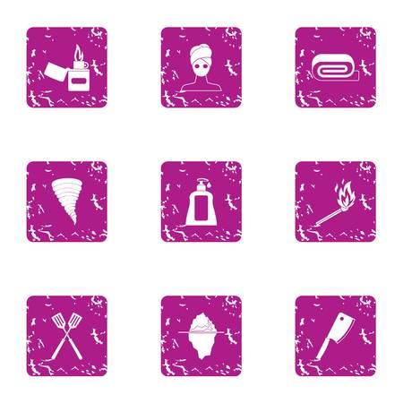 Women cream icons set. Grunge set of 9 women cream icons for web isolated on white background Stock Photo