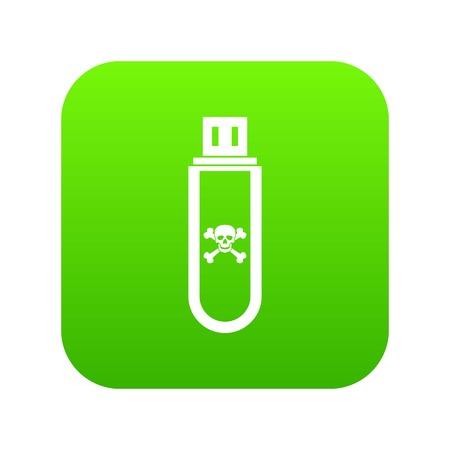Infected USB flash drive icon digital green 版權商用圖片