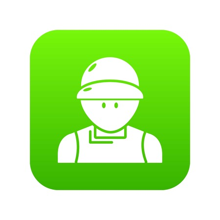Plumber man icon green isolated on white background