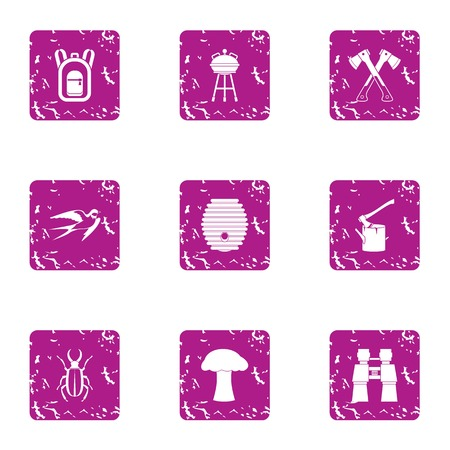 Naturalism icons set. Grunge set of 9 naturalism icons for web isolated on white background Banco de Imagens