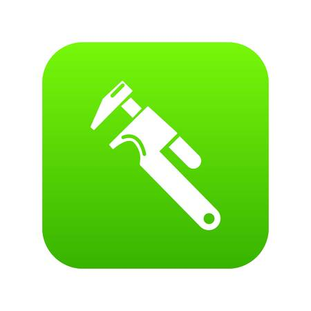 Universal spanner icon green Stock Photo