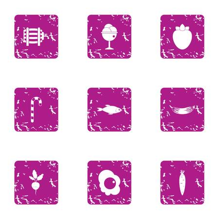 Wholesome breakfast icons set, grunge style