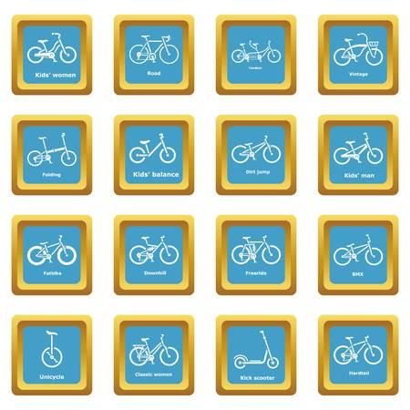 Bicycle types icons set sapphirine square