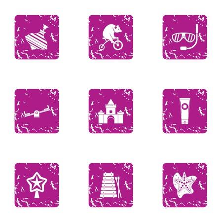 Theme park icons set, grunge style