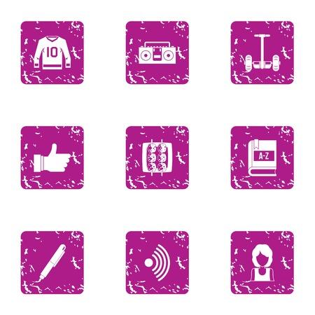 Sport task icons set, grunge style Stock fotó