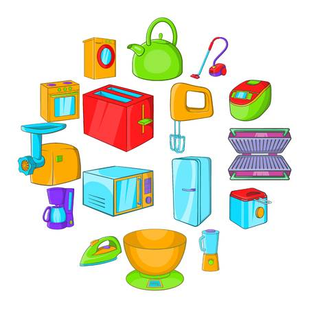 Household appliances icons set in cartoon style isolated illustration