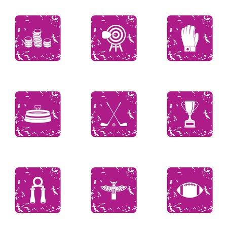 Sport salary icons set. Grunge set of 9 sport salary icons for web isolated on white background Stock fotó