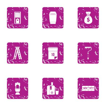 Trimming icons set. Grunge set of 9 trimming icons for web isolated on white background