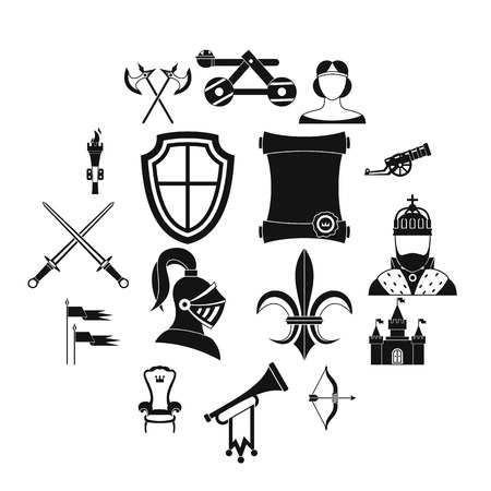 Knight medieval icons set in simple style. Middle ages warrior weapons set collection illustration