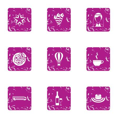 Food fun icons set. Grunge set of 9 food fun icons for web isolated on white background Stock Photo