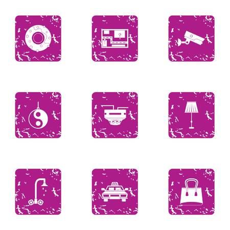 Professional supervision icons set. Grunge set of 9 professional supervision icons for web isolated on white background