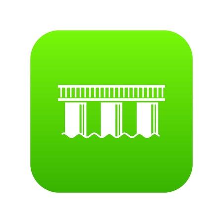 Urban bridge icon green isolated on white background