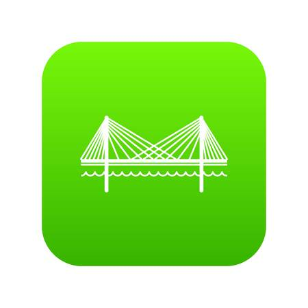 Bridge icon green isolated on white background Stock Photo