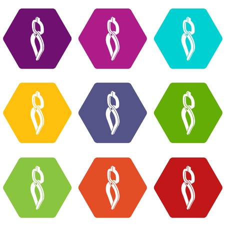Blacksmith tong icons 9 set coloful isolated on white for web