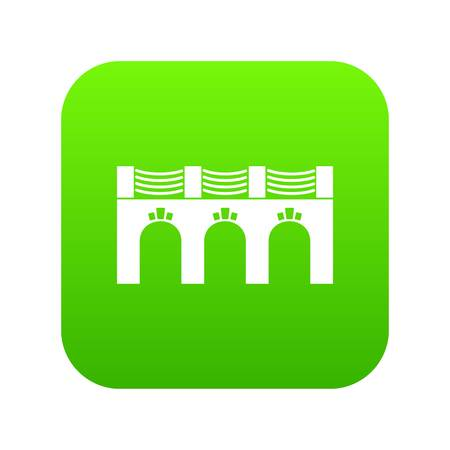 Old arch bridge icon green isolated on white background