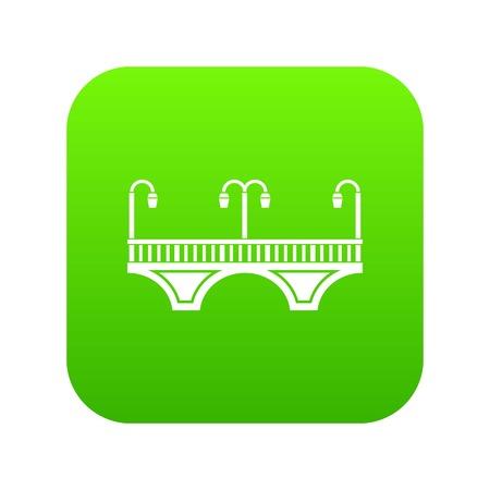 Retro arch bridge icon green isolated on white background Stock Photo