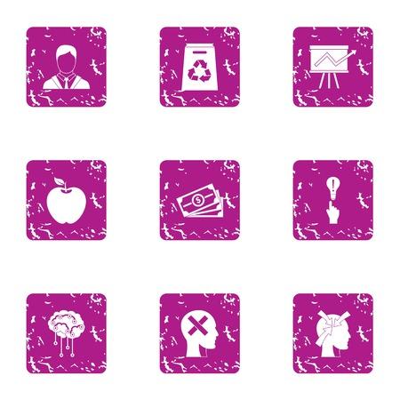 Million dollar idea icons set. Grunge set of 9 million dollar idea icons for web isolated on white background