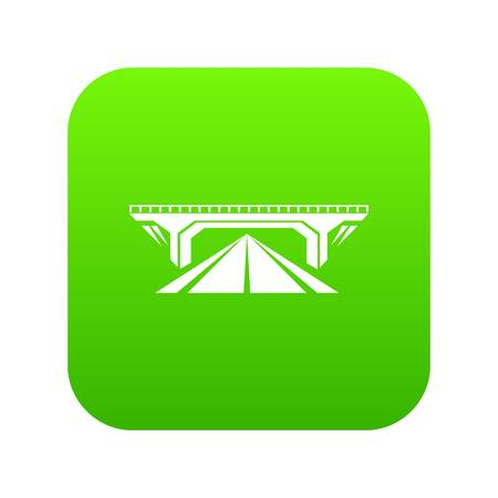 Concrete bridge icon green isolated on white background