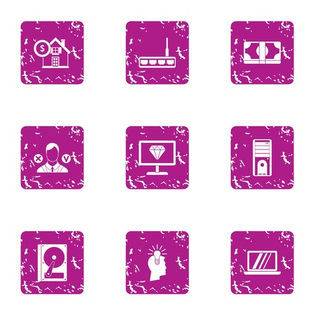 Trading operation icons set. Grunge set of 9 trading operation icons for web isolated on white background 写真素材