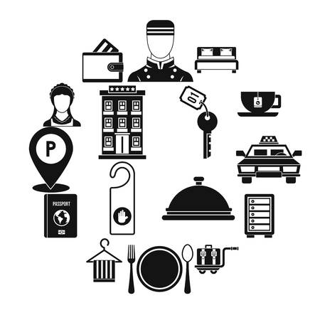 Hotel icons set in simple style. Hotel accommodation services set collection illustration 版權商用圖片
