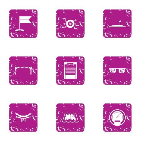 Latest technology icons set. Grunge set of 9 latest technology icons for web isolated on white background
