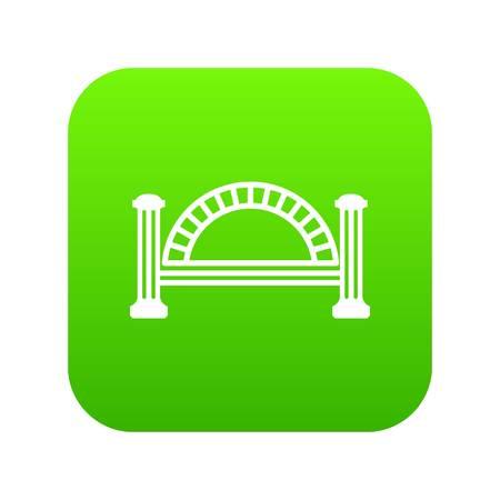 Metallic bridge icon green isolated on white background