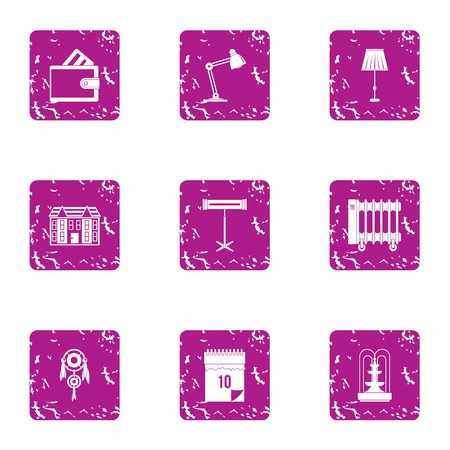 Place of work icons set. Grunge set of 9 place of work icons for web isolated on white background