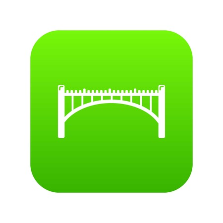 Road arch bridge icon green isolated on white background Stockfoto