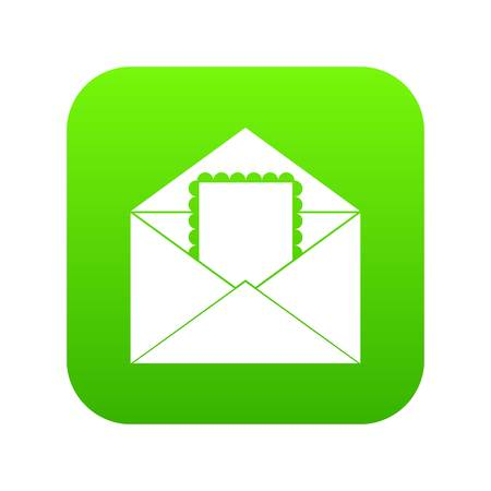 Envelope with card icon digital green for any design isolated on white illustration Stock Photo