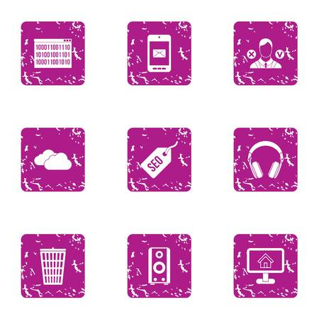 Trading day icons set. Grunge set of 9 trading day icons for web isolated on white background 写真素材