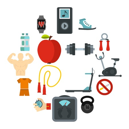 Fitness icons set. Flat illustration of 16 fitness icons for web