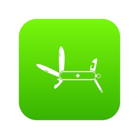 Swiss multipurpose knife icon digital green for any design isolated on white illustration