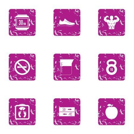 Sport entertainment icons set. Grunge set of 9 sport entertainment icons for web isolated on white background