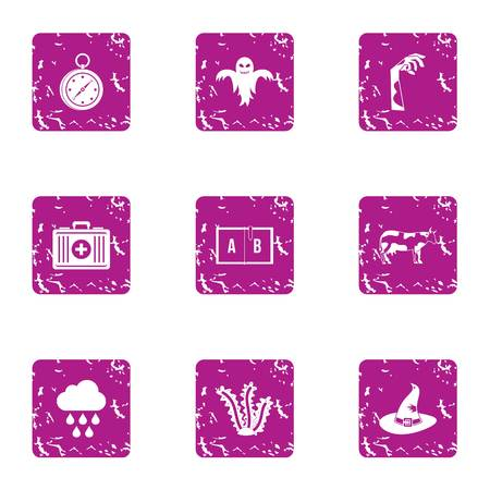 Strange medicine icons set. Grunge set of 9 strange medicine icons for web isolated on white background