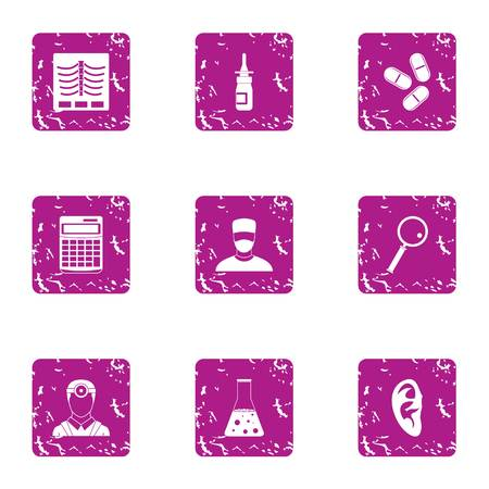 Doctorate icons set. Grunge set of 9 doctorate icons for web isolated on white background
