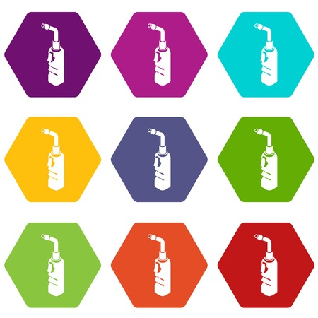 Avto welding torch icons 9 set coloful isolated on white for web