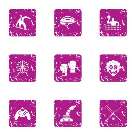 Game dependency icons set. Grunge set of 9 game dependency icons for web isolated on white background