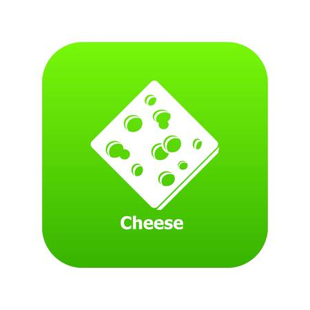Sliced cheese icon green isolated on white background