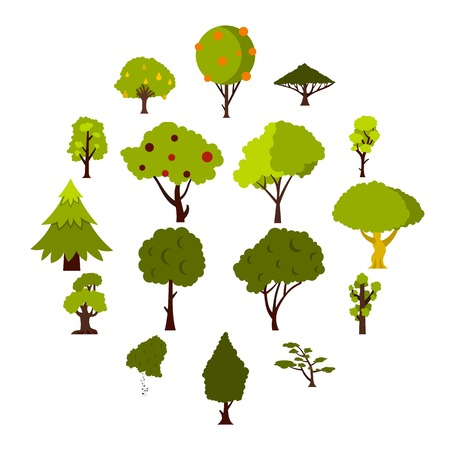 Green tree icons set. Flat illustration of 16 green tree icons for web
