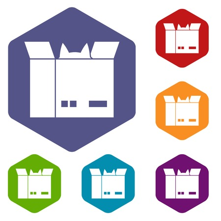 Cat in a cardboard box icons set hexagon isolated illustration