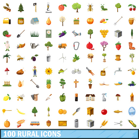 100 rural icons set in cartoon style for any design illustration Stock Photo