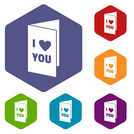 Happy Valentines day or weeding card icons set hexagon isolated illustration Stock Photo