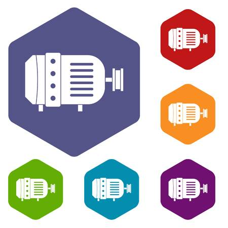Electric motor icons set hexagon isolated illustration