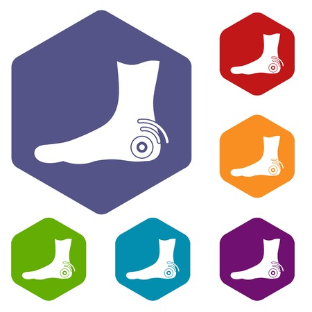 Foot heel icons set hexagon isolated illustration